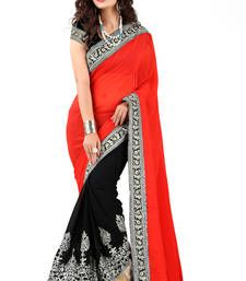 Buy RED AND BLACK GEORGETTE SAREE other-actress-saree online