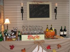 fall dinner setting | Great bar set-up for Fall Party! DIY project--purchase a wall mirror ...