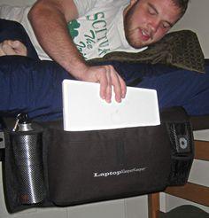 Pink And Black Dorm Room | Laptop SleeperKeeper- College dorm room beside storage pack for laptop ...