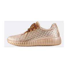 Almond Toe Metallic Sneakers ROSE GOLD ($34) ❤ liked on Polyvore featuring shoes, sneakers, gold, laced sneakers, laced shoes, lacing sneakers, lace up sneakers and laced up shoes