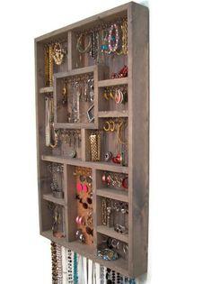 Large Gray Jewelry Display Case, Jewelry Organizer