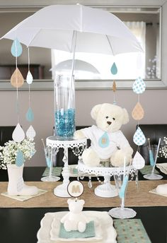 Raindrop Umbrella Baby Shower Centerpiece Project