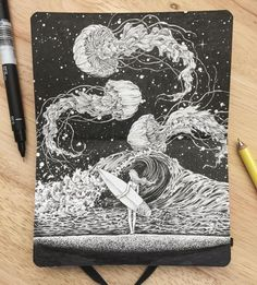 Incredibly Detailed Ink Pen Doodles Art on Sketchbook By Kerby Rosanes. |FunPalStudio|Illustrations, Entertainment, beautiful, Art, Artist, Artwork, nature, World, drawings, paintings,  Creativity, beautiful, Doodles Art, Sketchbook Art, Kerby Rosanes, ink pen art.