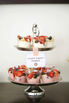 Party Idea: Do this on a bigger tray and place parfaits sitting on ice for outside birthday party. Yogurt & fruit!