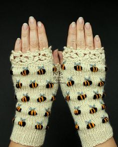 Ivory Hand Knitted Fingerless Gloves With Bees Embroidery Gloves & Mittens For Her Winter Accessories Anniversary Gift Gift For Woman Knitting Accessories, Winter Accessories, Handmade Accessories, Hand Crochet, Crochet Lace, Hand Knitting, Crochet Geek, Finger Knitting, Knitting Machine