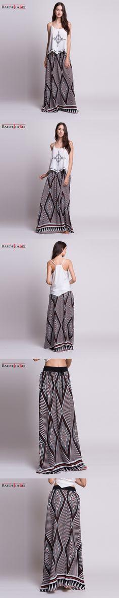2017 Fashion women skirts Cotton Long Skirts Elastic Waist Pleated Maxi Skirts Beach Boho Vintage skirts