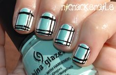 I should do this on my tips! Blue and white base with black plaid stripes