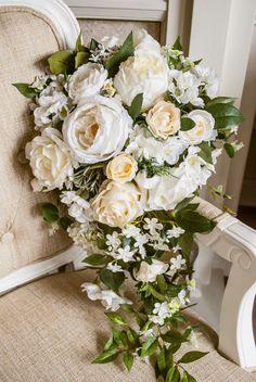 Natural white and cream silk teardrop wedding by LaurelSilkFlorist