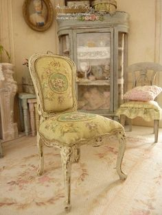Dollhouse French castle, Shabby chair Louis XV, Aubusson roses in victorian green medallion on Khaki green background, Furniture for a dollhouse in