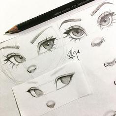 Eye Drawing Simple, Art Drawings Sketches Simple, Pencil Art Drawings, Cartoon Drawings, Cute Drawings, Drawings Of Eyes, Cartoon Cartoon, Sketches Of Eyes, Drawing Cartoon People