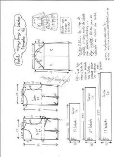 Esquema de modelagem de vestido manga longa babados tamanho 46.