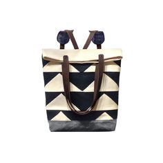 """Tote Convertible Black Backpack """"in Triangle"""" 