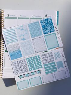 Turquoise and Silver Glitter Planner Sticker Kit, Planner Stickers, Erin Condren Planner Stickers, Planner Accessory
