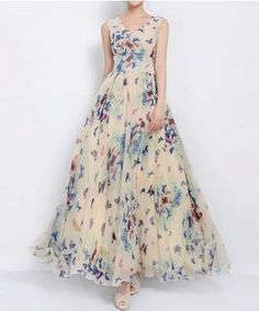 Butterflies! Butterflies! Butterflies! LOVE this Dress! Women's Graceful Full Butterfly Print High Waist Lace Up Sleeveless Chiffon Dress