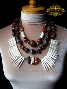 Carnelian Jasper Howlite Tribal Statement Necklace African Recycled Glass Pagan Amulet Pendant Boho Chic Artisan Jewelry by Spinning Castle