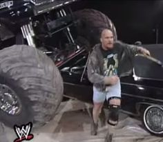 """- Stone Cold Destroys The Rock's Lincoln """"And that's the bottom line cause Stone Cold says so"""" Steve Austin, Destruction, Lincoln, Wwe, Attitude, Monster Trucks, Childhood, Wrestling, Cold"""