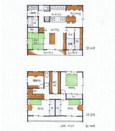 階段位置 Japanese Modern House, House Plans, Floor Plans, Flooring, How To Plan, Architecture, Building, Home Decor, Space