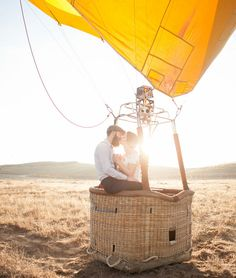 Hot air balloon day after photo shoot -- inspired by the couple's travel-themed wedding
