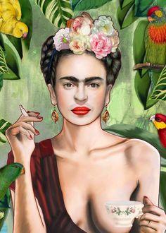 """Frida Kahlo"" metal poster by Nettsch #greenery"