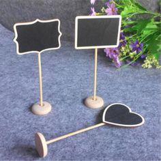 12Pcs/Set Mini Small Wooden Chalk Blackboard Wedding Kitchen Restaurant Signs Chalkboard Writing Notice Message Paint Wood Board