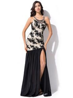 Trumpet/Mermaid Scoop Neck Floor-Length Chiffon Prom Dress With Beading Sequins Split Front