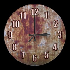 Rusted metal wall clock with sleek bronze numbers by YANKAdesigns on Zazzle $24.95
