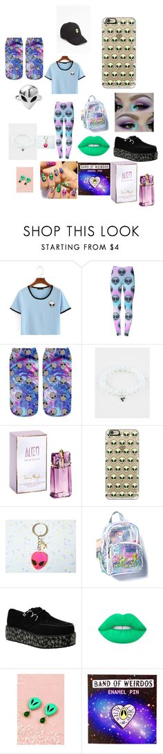 """Aliens"" by hanpeto ❤ liked on Polyvore featuring WithChic, Disturbia, Full Tilt, Thierry Mugler, Casetify, Lime Crime and Band Of Weirdos"