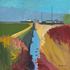 Ditch next to Sedge Fen Road II – winter sunshine rain coming, Nov Abstract Landscape Painting, Landscape Art, Landscape Paintings, Abstract Art, Landscapes, Soft Pastel Art, River Painting, Rain Days, Unusual Art