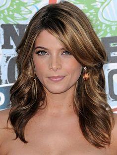 Medium Brunette Hair Style Ashley Greene