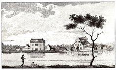 Plantage Alkmaar in Suriname. Eigen scan van 18de-eeuwse gravure, beschikbaar voor publiek domein.