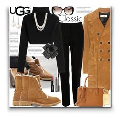 """""""The New Classics With UGG: Contest Entry"""" by marionmeyer ❤ liked on Polyvore featuring UGG, Yves Saint Laurent, Dolce&Gabbana, Valentino, Gucci, Black, Prada, Anne Klein, Belpearl and MAC Cosmetics"""