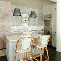 """You can never have enough lighting in a kitchen, and I always down-light with decorative fixtures over the island and prep station,"" she says, maintaining that good lighting, and plenty of it, is incredibly important while cooking. ""Use flush or recessed fixtures, and don't forget about under-cabinet lighting."""