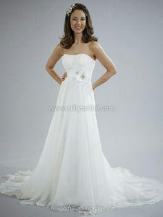 A-line Strapless Chiffon Court Train Flower(s) Wedding Dresses