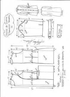 Esquema de modelagem de vestido inverno chamesier tamanho 36.