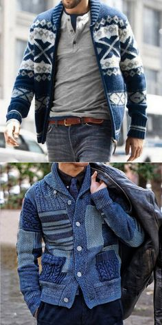 Fashion Blue Mens Sweater - Men's style, accessories, mens fashion trends 2020 Winter Mode Outfits, Winter Fashion Outfits, Blue Fashion, Gentleman Mode, Gentleman Style, Mens Fashion Sweaters, Sweater Fashion, Stylish Men, Men Casual