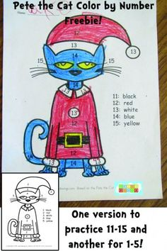 Pete the Cat Color by Number Freebie- (one version for 11-15, and another for 1-5!) #kindergarten