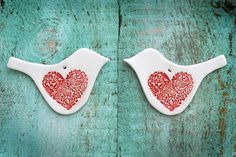 Matching Pair of Red Ceramic Love Bird Ornaments Decoration