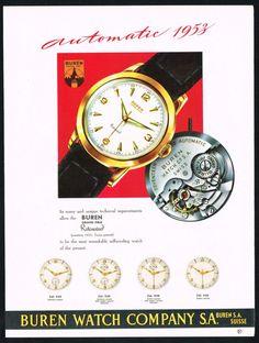 1953 Buren Watch advertisement ‹ Strickland Vintage Watches