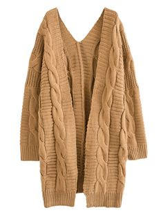 Brown Cable Longline Cardigan | Choies