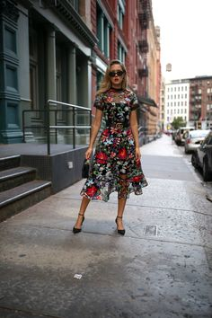 NYC fashion blogger Mary Orton in black Anthropologie embroidered fit and flare floral midi dress black Sam Edelman ankle strap pumps black M2Malletier mini leather shoulder bag black cat eye sunglasses Marc Jacobs pearl drop earrings black leather Gucci waist belt
