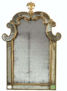 Giltwood and Gilded Lead Mirror, Swedish, Late 17th - Early 18th Century, Attributed to Gustav Precht - Dim: Height 47 1/4 in; width 30 3/4 in.