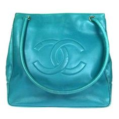 AUTH-CHANEL-JUMBO-XL-CC-LOGOS-SHOULDER-BAG-GREEN-LEATHER-VINTAGE-ITALY-CKY00037