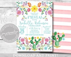 EDITABLE Invitation, Girl Baby Shower Invitation, Mexican Fiesta Cactus Floral Watercolor, Printable - Products - Baby Tips Baby Shower Prizes, Baby Shower Cookies, Baby Shower Invites For Girl, Baby Shower Cards, Baby Boy Shower, Baby Shower Invitations, Baby Shower Gifts, Elephant Baby Showers, Boy Decor