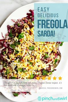Of the Fregola Sarda recipes I've tried, this one is my favorite! A beautiful, versatile salad with raddicchio (or endive), hard boiled eggs, capers and a delightfully tangy, fresh lemon dressing. Easy Summer Meals, Healthy Summer Recipes, Healthy Salad Recipes, Vegetarian Recipes, Potluck Side Dishes, Main Dish Salads, Side Dishes Easy, Hard Boiled, Boiled Eggs