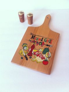 Vintage Mixed Grill Cutting Board Kitchen Decor Wall by Pesserae