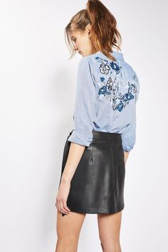 Smart casual gets a pretty twist with this herringbone blue shirt featuring floral vine detail to the back. Pair with leather look skirt and black ankle boots to toughen up the look. Leather Look Skirts, Leather Skirt, New Wardrobe, Black Ankle Boots, Smart Casual, Womens Fashion, Fashion Trends, Topshop, Style Inspiration