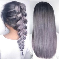 Metallic Lilac Gray hair color and beautiful braid by @anja.milo #hotonbeauty…: