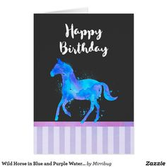 Wild Horse in Blue and Purple Watercolor Card