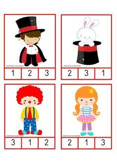 Manipulativo ABN tarjetas de conteo temática el circo -Orientacion Andujar Playing Cards, Games, Math Education, Preschool, Egg Coloring, School Doors, Physical Activities, Carnival Games, Playing Card Games