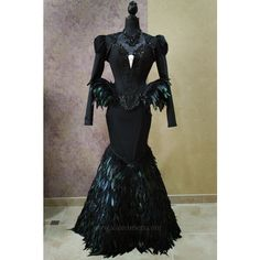 Black Swan Haute Goth Corset Dress Gothic Feathers Raven Skull Bird... (1 445 AUD) ❤ liked on Polyvore featuring costumes, masquerade costume, carnival costumes, victorian costumes, masquerade party costumes and party costumes